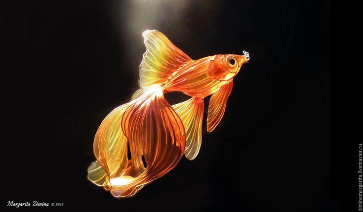Купить Золотая рыбка. Вуалехвост. Ювелирное украшение. - оранжевый, рыба, рыбка, золотая рыбка, вуалехвост