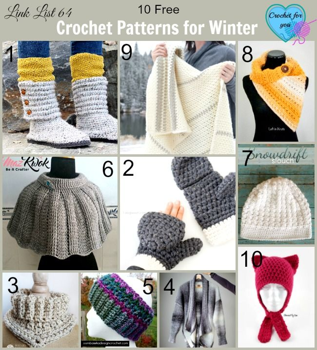 10 Free Crochet Patterns for Winter. Here is the last link list for completing free patterns for 4 seasons.