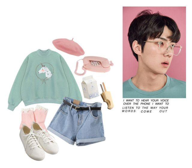 """""""call me baby"""" by delighted-hearts ❤ liked on Polyvore featuring Chicnova Fashion, Forever 21, Muji, vintage, pastel, EXO, korean and Sehun"""