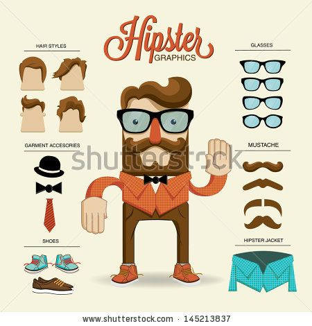 Hipster character, vector illustration with hipster elements and icons