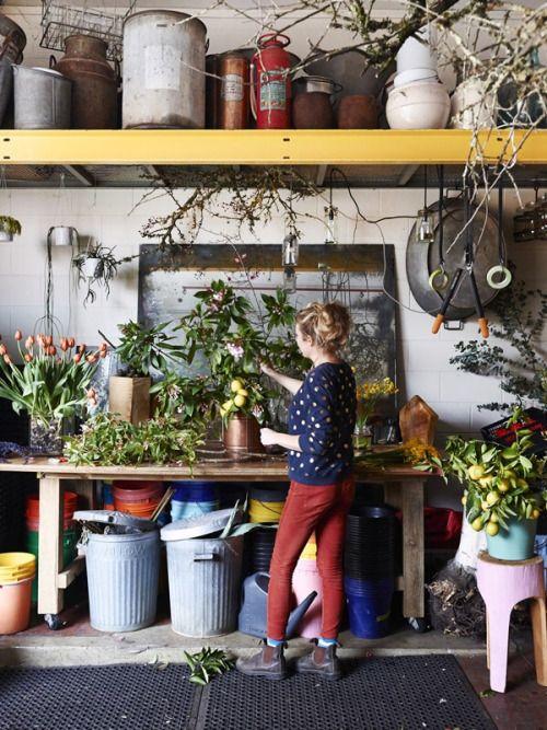 Florist Katie Marx in her Collingwood workshop