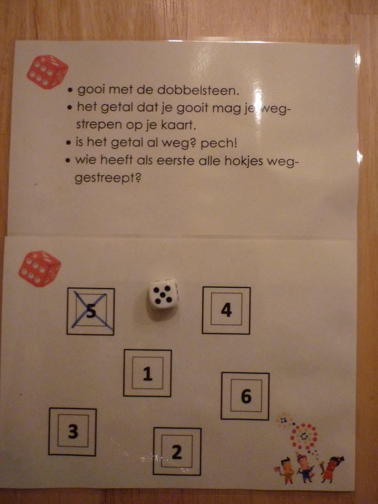 Dobbelspel: gooi met de dobbelsteen en streep het getal dat je gooide weg. Nog een keer hetzelfde nummer, dan heb je pech. Wie heeft als eerste alle vakjes doorgestreept. Uit te breiden met hogere getallen en meer dobbelstenen.
