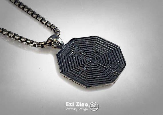 Greek LABYRINTH Maze Necklace solid sterling silver 925 Ezi