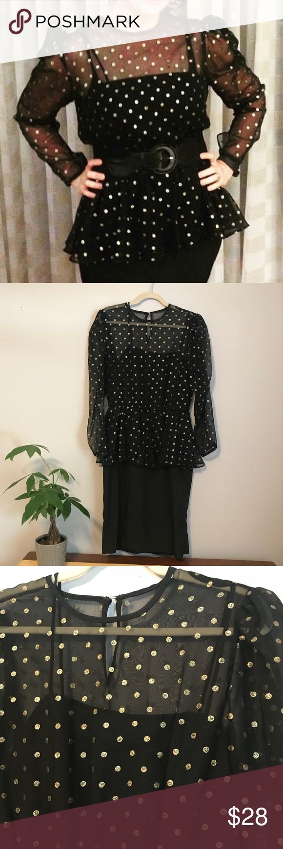 Vintage polka dot puffy shoulder peplum dress Adorable vintage black peplum dress with gold polka dots. Sheer long sleeve top with puffy shoulders and attached spaghetti strap top underneath.  Pencil skirt. Belt pictured in cover photo not included. Great pre owned condition. Size 14M. Vintage Dresses