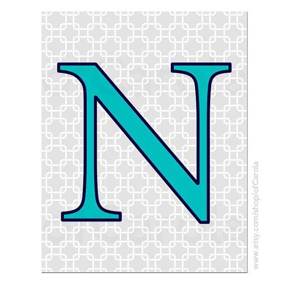 Monogram Initial Letter N Wall Art Print, Personalized Children Baby Boys Girls Nursery Decor Navy Blue Aqua Turquoise Gray White ofCarola on Etsy, $12.00