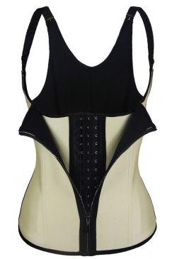 #Womens #Steel #Bones #Breasted #Zipper #Waist #Training #Corset Khaki
