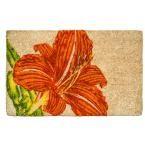 Tangerine Lily 22 in. x 35 in. Hand Woven Coconut Fiber Door Mat, Orange/White