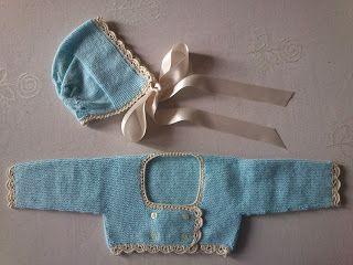 Las labores de Ana: Primera rebequita de bebé a dos agujas