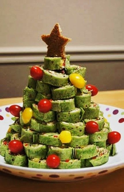 I want to do this with spinach tortilla roll ups instead!  Great for our family red and green themed meal!