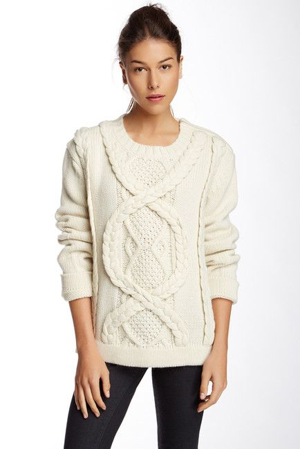 Ivory Braided Knit Sweater