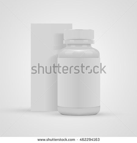Blank pills container with blank label and blank package box on white background. Vector illustration