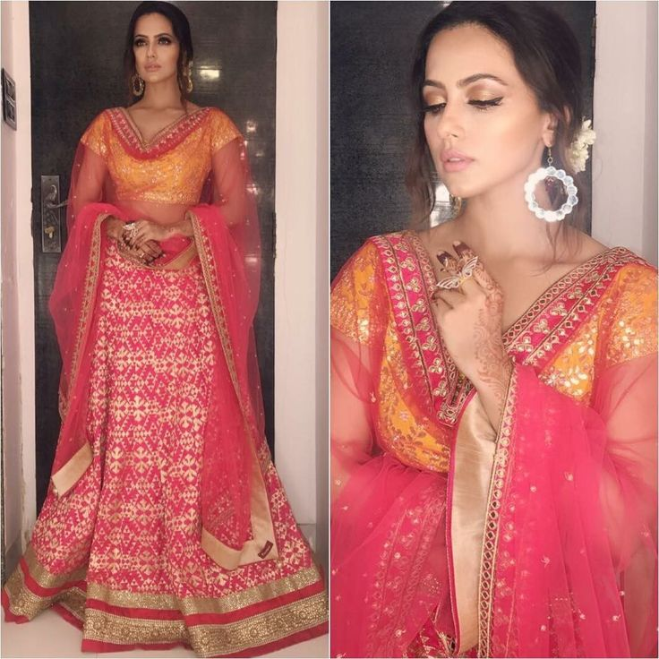 Sana Khan in a lehenga Indian wedding dress, Fashion