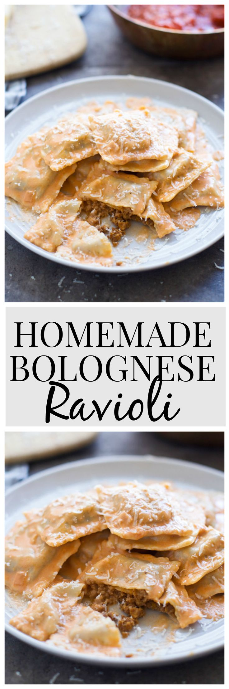 Homemade Bolognese Ravioli - melt-in-your-mouth pasta stuffed with a bolognese-style filling and tossed in a cheesy tomato cream sauce!