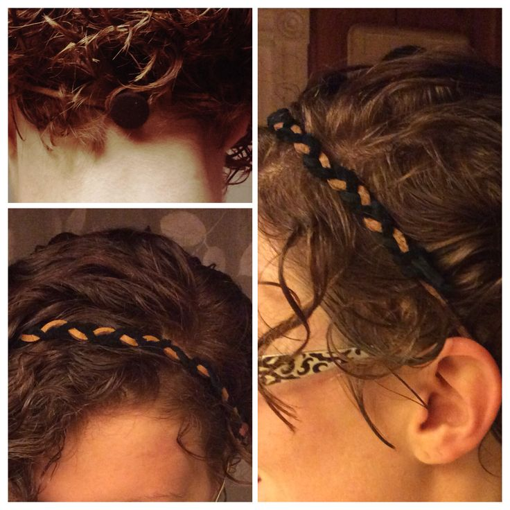 Leather braided headband with a simple button toggle. Takes about 15 minutes to make.