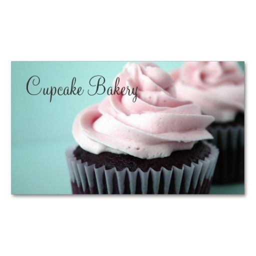 Chocolate Cupcakes Pink Vanilla Frosting Business Cards. This is a fully customizable business card and available on several paper types for your needs. You can upload your own image or use the image as is. Just click this template to get started!