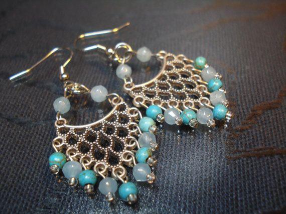 Gemstone Chandelier Earrings Turquoise Earrings by FIGENTAKI
