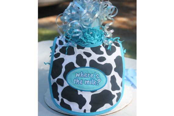 Cow Print Baby Shower Diaper Cake  Blue Diaper di #integritytt #etsysocial @Etsy_Team_LOVEImagineThatBaby