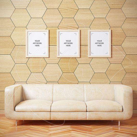 8x10 16x20 Styled Stock Digital Mockup Set Of 3 Frames Wood Frame Product Background Living Room Art Design