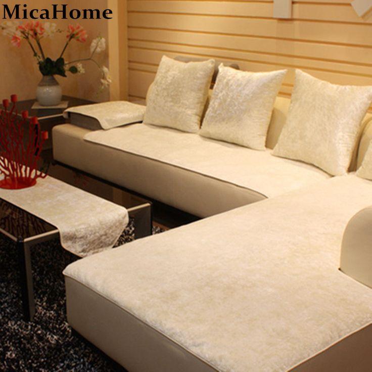 European Leather Sofa Cushion Plush Sofa Cloth Fabric Sectional Towel Set Sofa Covers for Home Textile Corner Slipcover #Affiliate