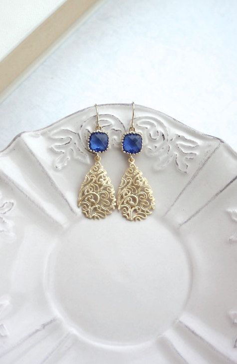 Pendientes de piedra azul cobalto Matt Gold filigrana gota