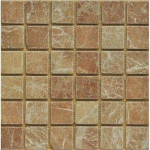 2x2 Rojo Alicante Marble Mosaic Tumbled