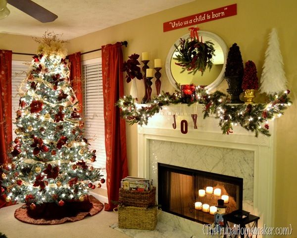 Burgundy and gold christmas tree and mantel hometalk for Maroon christmas tree decorations