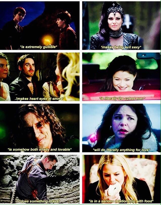 Once Upon a Time character summaries. Henry and Pan. The Evil Queen. Captain Hook. Belle. Rumplestiltskin. Snow White. Prince Charming. Emma