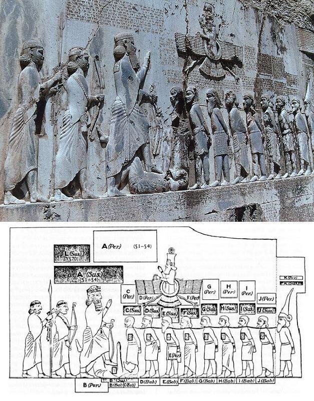 La inscripción cuenta la subida al trono de Darío I, así como sus victorias militares. El rey (la figura más grande) contempla desde su altura a los representantes de los pueblos conquistados.