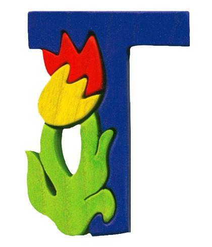 Montessori  Waldorf wooden puzzle letter Tulip made by Ludimondo, $5.00