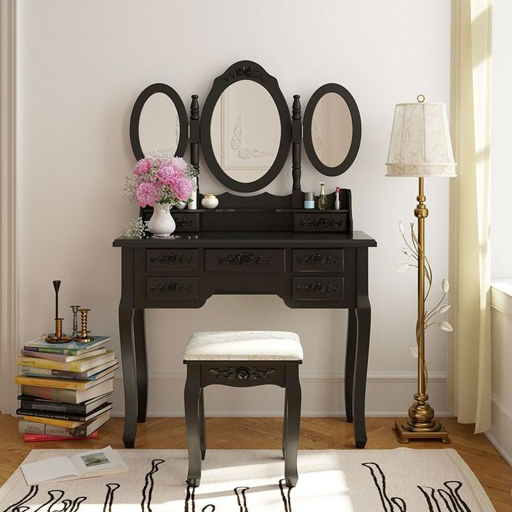 Lovely Vanity with Mirror and Stool