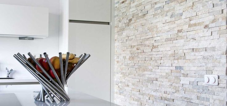 Keukeneiland Wand : Barroco Natuursteenstrips, Steenstrips, Glamour Gold