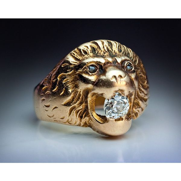Lion Rings - Vintage Gold Diamond Lion Head Ring ❤ liked on Polyvore featuring…