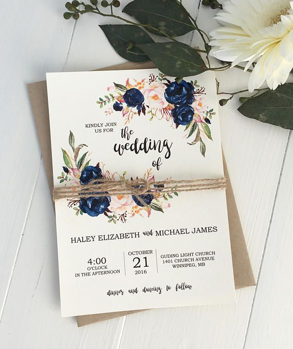 Navy, Rustic Floral Wedding Invitation, Boho Chic wedding, is perfect for your elegant, rustic boho chic wedding! Impress your wedding guests with this gorgeous & professionally designed custom wedding invitation suite featuring a stunning combination of a calligraphy font, beautiful
