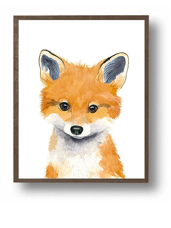Watercolor fox cub, baby animal paintings, fox, baby fox,woodland nursery, Childrens Wall Decor, Kids Art Print, neutral nursery, baby boy