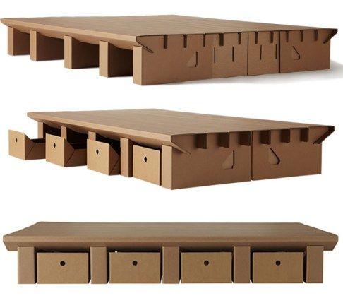 Paperpedic Bed es un sistema de paneles de cartón que gracias a su plegado se conectan creando una base de cama que resulta increíblemente fuerte, que puede soportar cerca de una tonelada, y 100% reciclable.