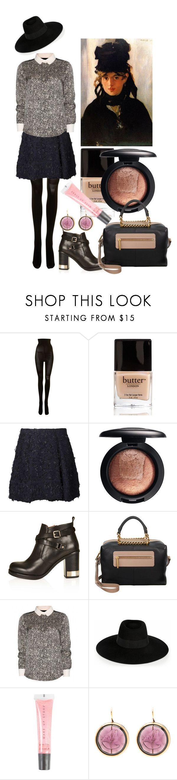 """""""The Black Hats"""" by historychick ❤ liked on Polyvore featuring SPANX, Butter London, 3.1 Phillip Lim, MAC Cosmetics, Topshop, Lanvin, Chloé, Maison Michel, MAKE UP STORE and Demeter Fragrance Library"""