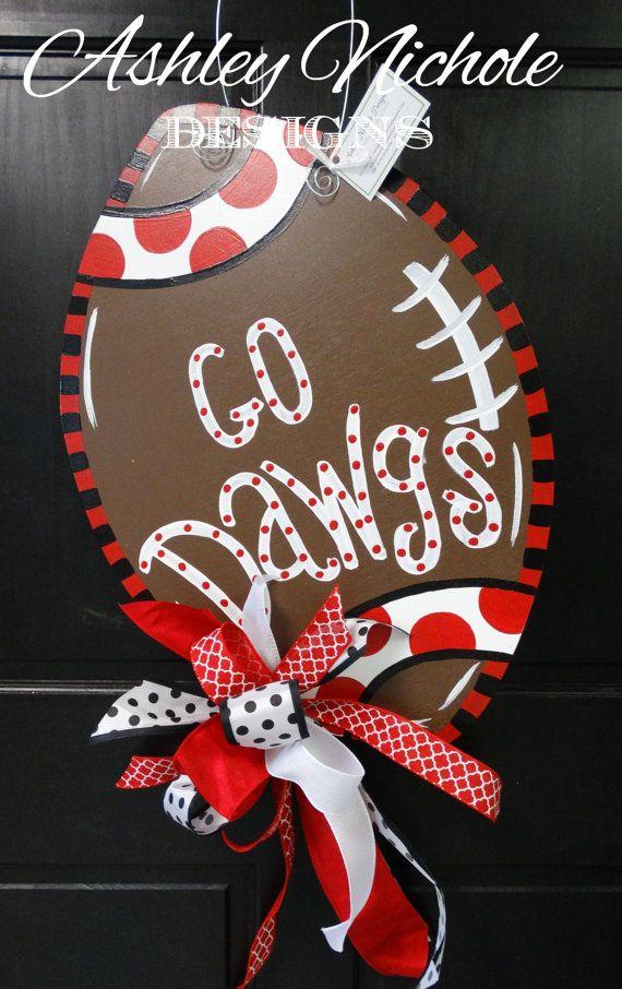 Georgia Bulldogs Inspired Football Door Hanger Door