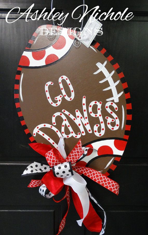 Georgia Bulldogs Inspired Football Door Hanger, Door Decoration,  Fall Wreath, Wooden Football