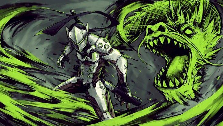 Genji Dragon Overwatch Game Art Wallpaper Wallpapers