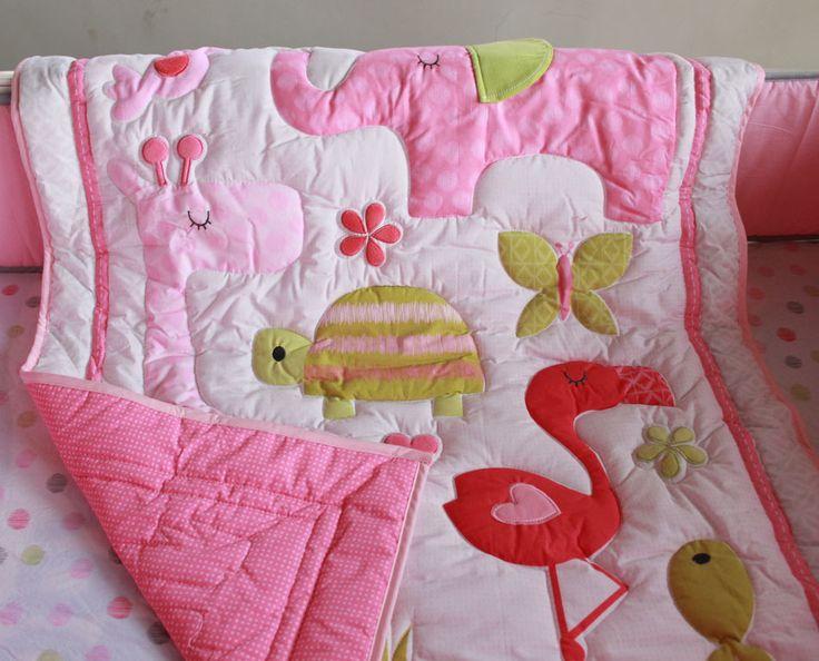 Розовый фламинго слон животные 4 шт. девочка кроватки постельных принадлежностей детская кроватка комплект одеяло аппликация бамперы лист комплект bebeкупить в магазине Kunshan De-Ying-Bai- Wang International Co.,LTDнаAliExpress