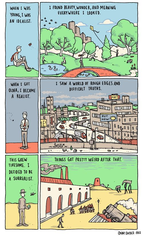 """Grant Snider's Great Comics on Art and Inspiration. """"I decided to become a surrealist. Things got pretty weird after that."""""""
