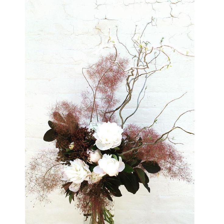 Bloodwood Botanica | Puff ☁️ Sculptural and fragrant fresh flower arrangement of Peonies & Smoke Bush. I love this simple & elegant colour scheme for a wedding