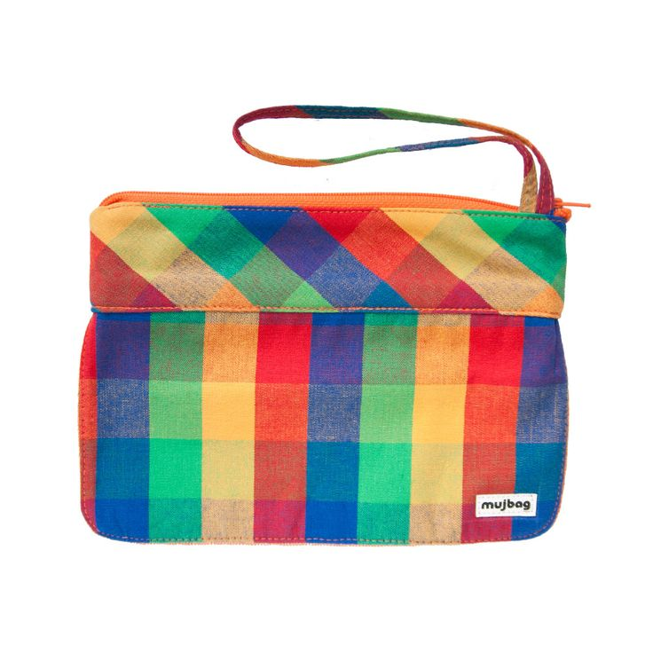 mujbag visage Tetris made from 100% cotton, orange zipper, front side from double layer of tulle, fit everything?