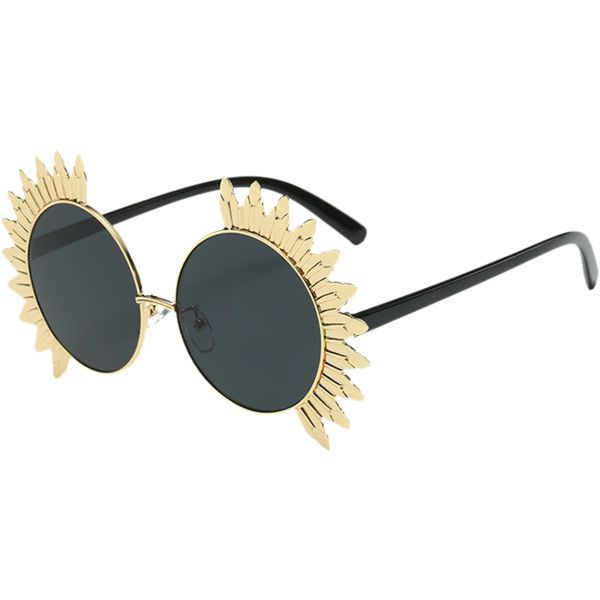 Black Alloy Sun Shape Frame Mirrored Round Beach Sunglasses ($8.86) ❤ liked on Polyvore featuring accessories, eyewear, sunglasses, mirror sunglasses, round mirrored sunglasses, mirrored glasses, rounded glasses and mirror glasses
