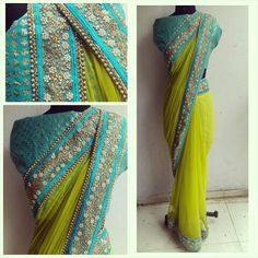 The HYACINTH sari....pure beauty. Lkme green net sari with a beautiful sky blue embelished border.