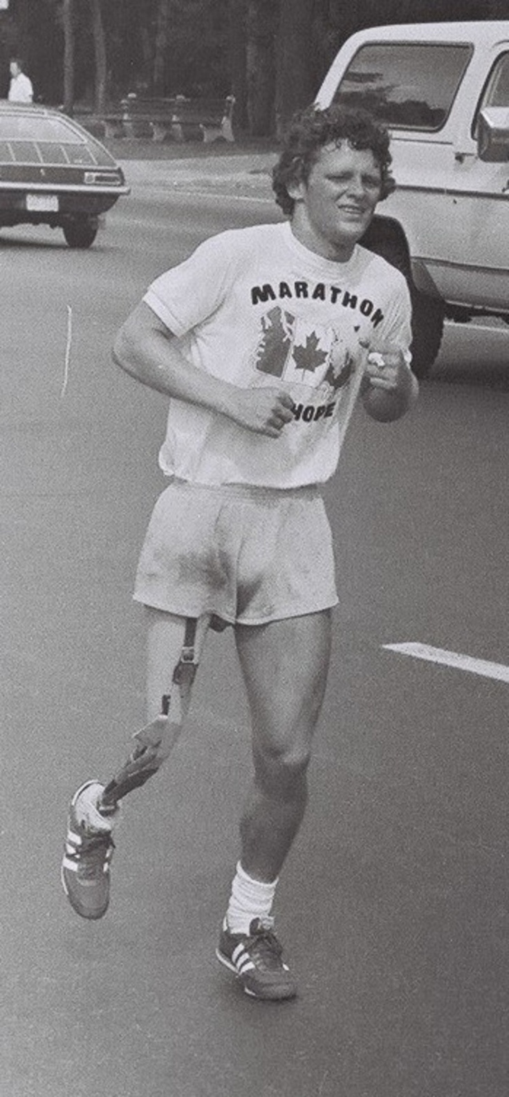 Terry Fox in Toronto during his Marathon of Hope cross-country run, July 1980.