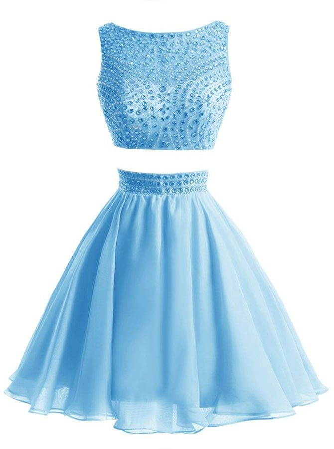 Two-piece Scoop Short Blue Chiffon Homecoming Dress with Beading