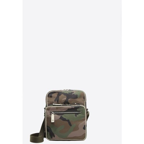 Valentino Garavani Uomo Camouflage Cross Body Bag (16,400 MXN) ❤ liked on Polyvore featuring men's fashion, men's bags, military green, mens leather crossbody bag, mens cross body bag, mens leather cross body bags, mens camo diaper bag and mens leather bags