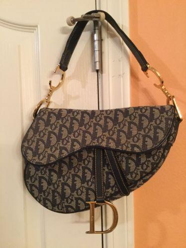 56de3498184 Christian Dior Trotter Saddle Hand Bag Navy Canvas Leather - Pre-loved