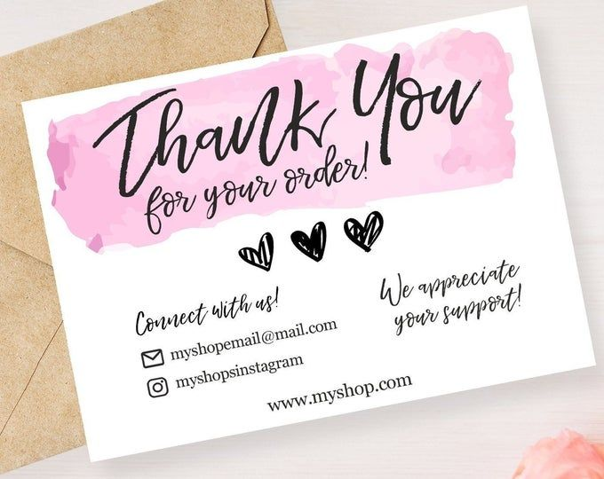 Etsy Note Printable Thank You Cards